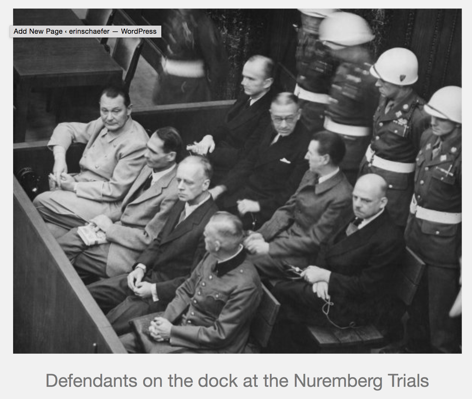 Nuremberg Trials Defendants on the Dock with Caption